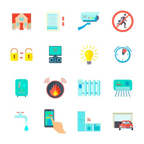 Conjunto de ícones para casa inteligente vetor