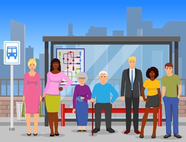 Cartaz de composição plana de parada de ônibus de multidão vetor