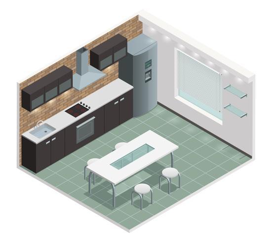 Imagem de vista isométrica de cozinha moderna vetor