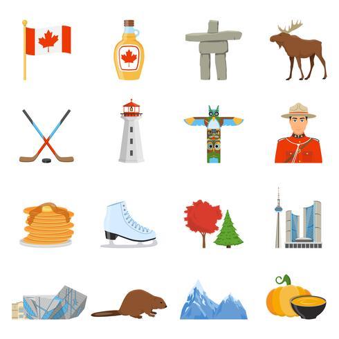 Coleção de ícones plana de símbolos nacionais do Canadá vetor