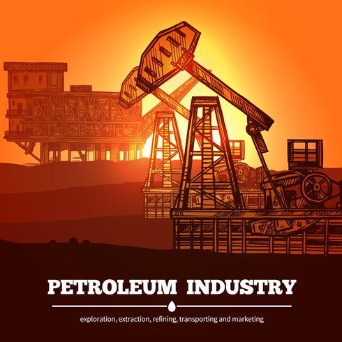 Conceito de design de indústria de petróleo vetor