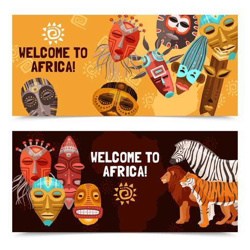 Banners de máscaras tribais étnicas africanas vetor