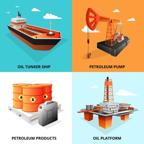 Petroleum Oil Industry 4 ícones isométricos vetor