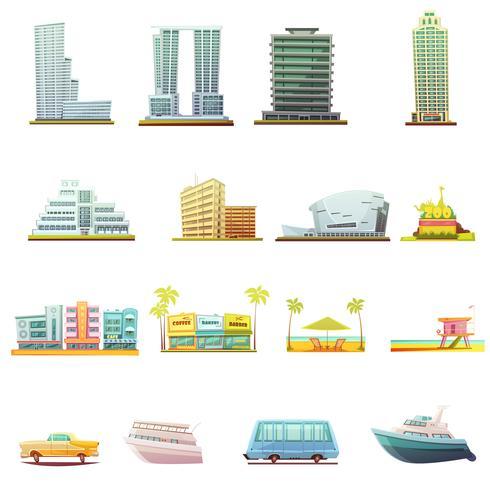 Conjunto de ícones de elementos de paisagem de transporte de Miami vetor