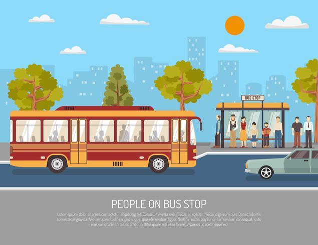 Cartaz do serviço público do ônibus do transporte p vetor