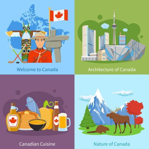 Canada travel 4 flat icons square vetor