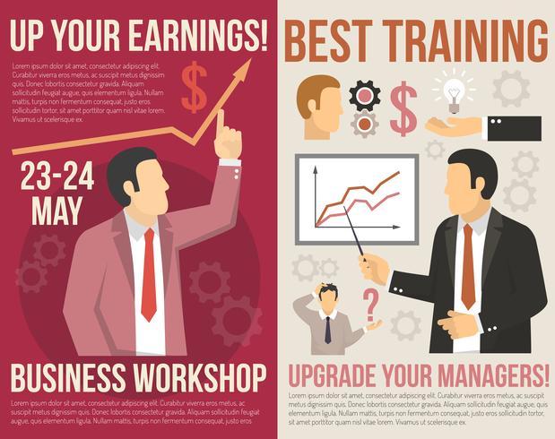 Banners verticais planos de consultoria de treinamento de negócios vetor