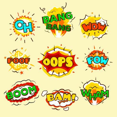 Conjunto de bolhas de explosão em quadrinhos vetor