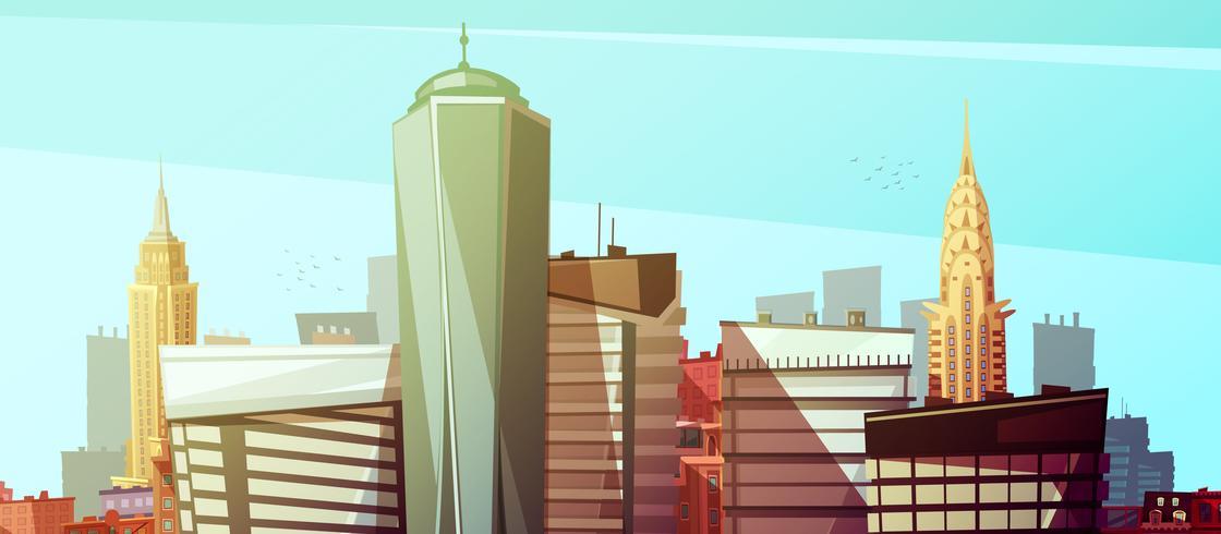Fundo de paisagem urbana de Manhattan com arranha-céus vetor