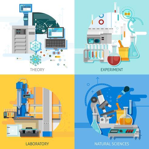 Conceito de design do equipamento de ciência 2x2 vetor