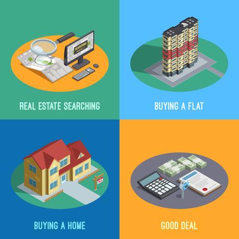 Real Estate 4 isométrica ícones quadrados vetor