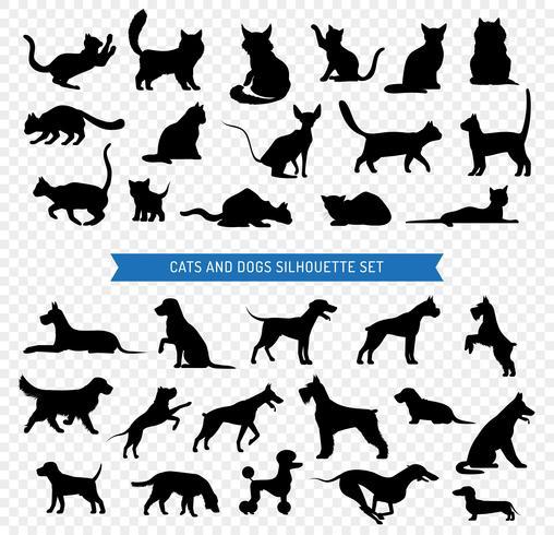 Cães e gatos preto silhueta conjunto vetor