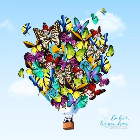 Fundo de balão de borboleta vetor