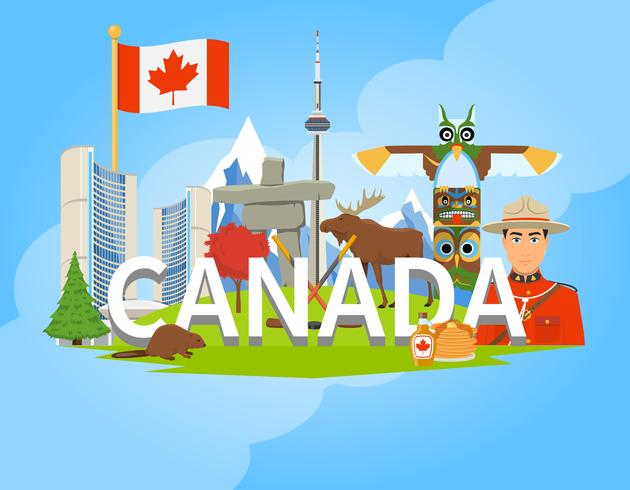 Canadian National Symbols Composition Plano POster vetor