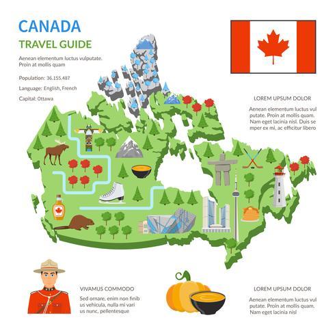 Cartaz plano do mapa do guia do curso de Canadá vetor