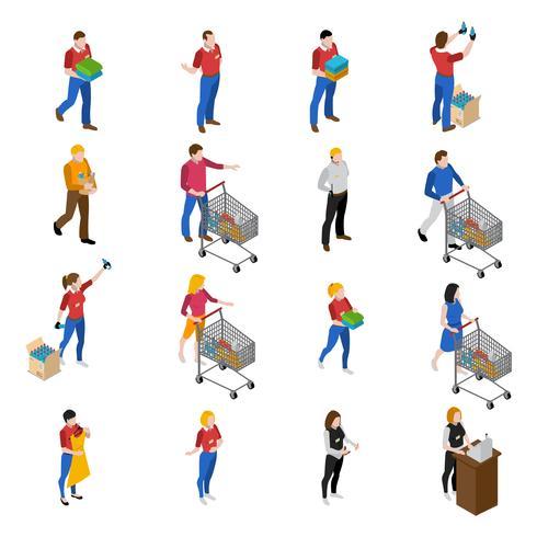 Conjunto de ícones de supermercado vetor