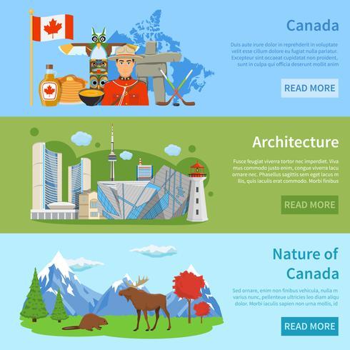 Informações de viagem do Canadá 3 Banners planas vetor