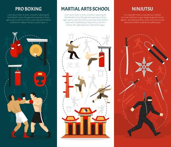 Conjunto de Banners verticais de artes marciais vetor