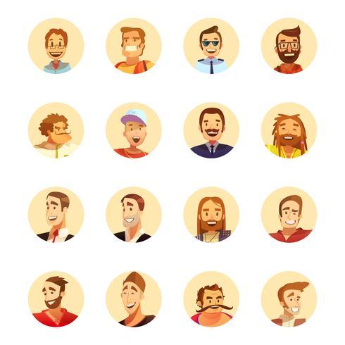Homem, avatar, ícones, caricatura, redondo vetor