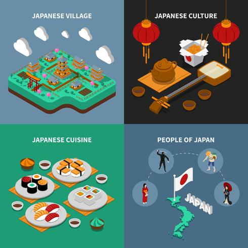 Conjunto de ícones turísticos Japão isométrica 2 x 2 vetor