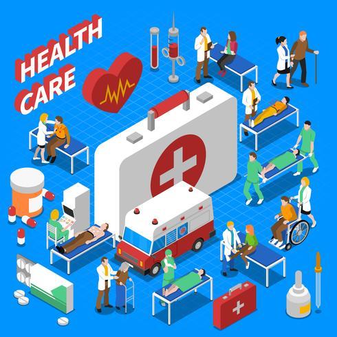Cartaz de composição isométrica de comunicação do paciente médico vetor
