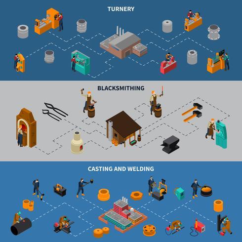 Conjunto de Banners de infográfico isométrica de processo de usinagem vetor