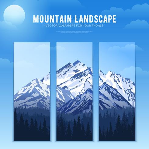 Bandeiras de conceito de Design de paisagem de montanhas vetor