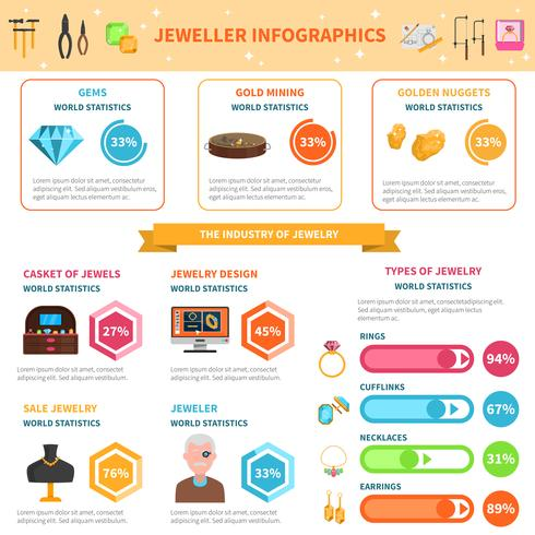 Conjunto de infográficos joalheiro vetor