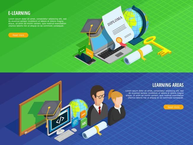 Conjunto de Banners E-learning vetor