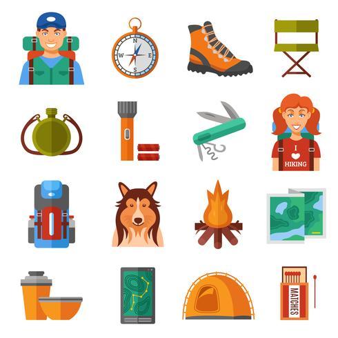 Conjunto de ícones de cor plana de caminhadas vetor