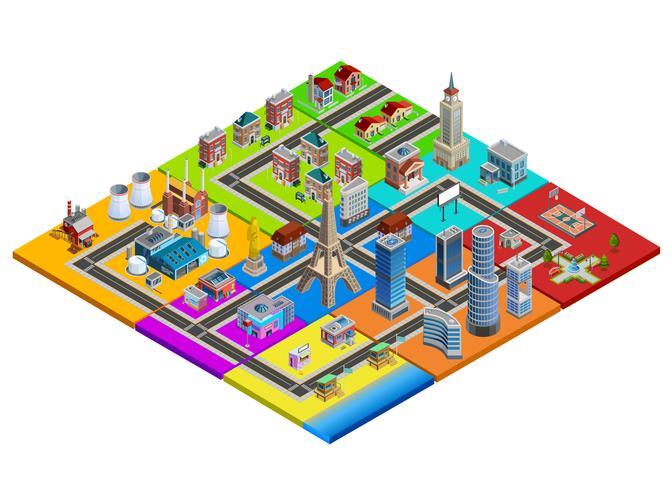 Imagem isométrica colorida do construtor do mapa da cidade vetor