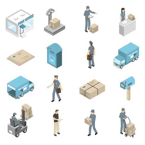 Conjunto de ícones isométrica de serviço de correios vetor