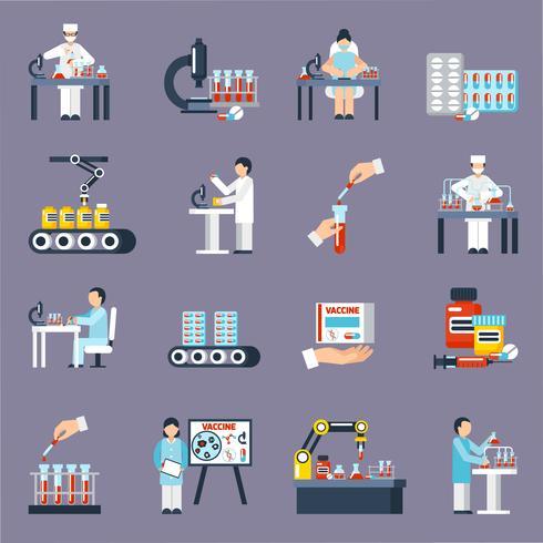 Conjunto de ícones de produção farmacêutica vetor