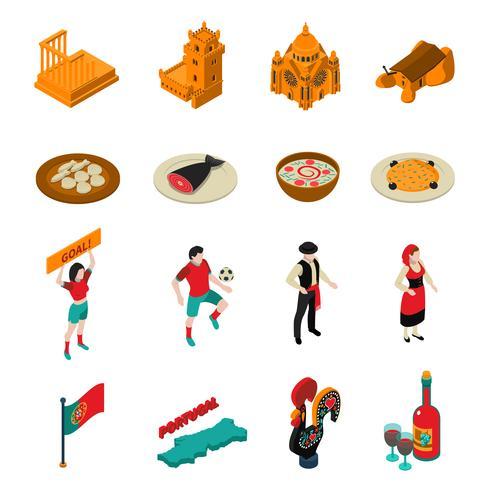Conjunto de ícones de Portugal vetor