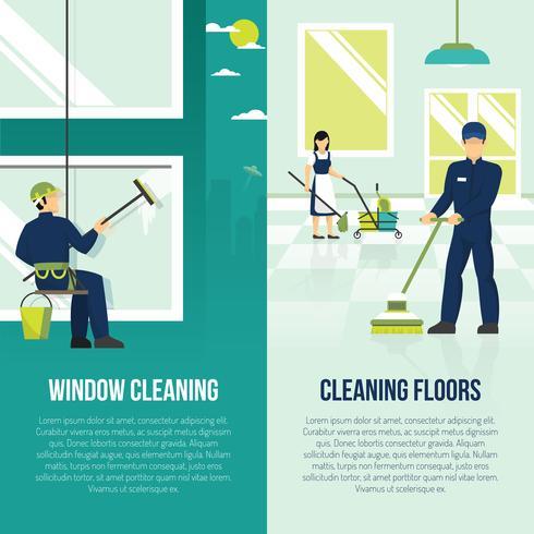Limpeza Industrial 2 Banners Verticais Planos vetor