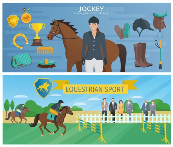 Banners de corrida de cavalos vetor