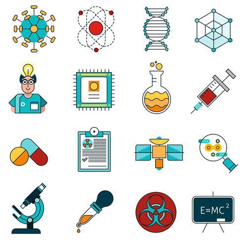 Conjunto de ícones de linha de ciência vetor