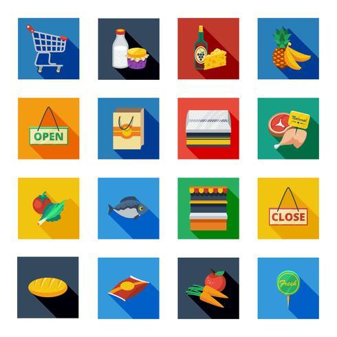 Ícones de sombra plana de supermercado em quadrados coloridos vetor