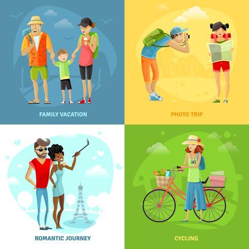 Conjunto de ícones de conceito itinerante vetor
