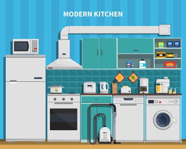 Fundo de cozinha moderna vetor