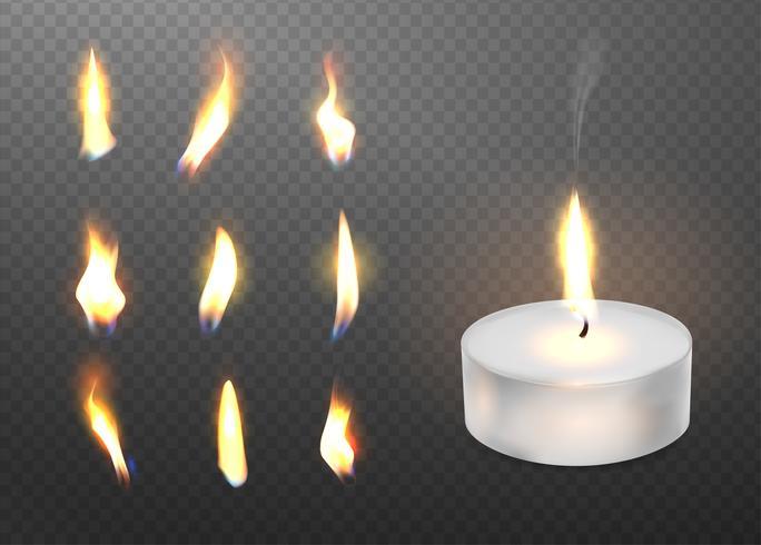 Luz realística de queimadura da vela 3d e chama diferente de um grupo do ícone da vela. vetor