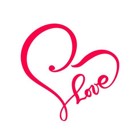 Mão desenhada sinal de texto de amor coração. Ilustração do vetor de caligrafia romântica. Símbolo do ícone de Concepn para t-shirt, cartão postal, casamento de pôster. Elemento plano de design do dia dos namorados