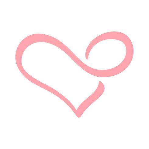 Mão desenhada coração amor sinal infiniti. Ilustração do vetor de caligrafia romântica. Símbolo do ícone de Concepn para t-shirt, cartão postal, casamento de pôster. Elemento plano de design do dia dos namorados