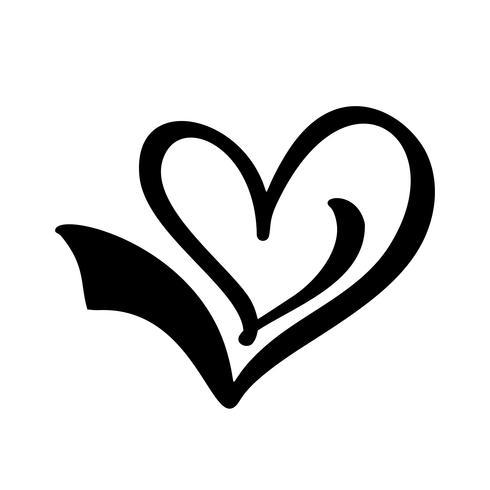 Mão desenhada sinal de amor do coração. Verifique a ilustração vetorial de ícone de marca. Ícone de concepn Aprovado símbolo para t-shirt, cartão postal, casamento de cartaz. Elemento plano de design do dia dos namorados vetor