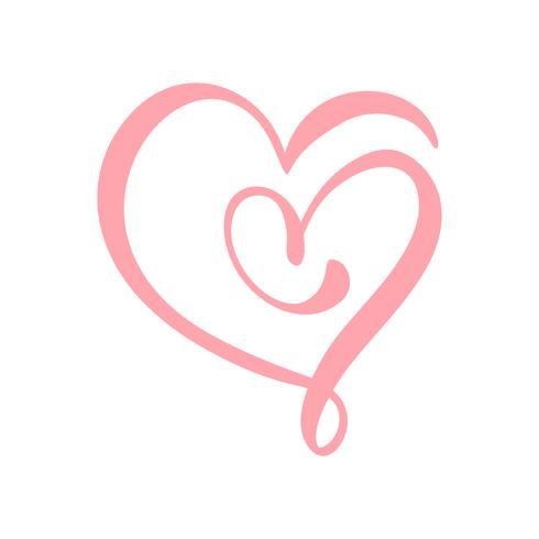 Mão desenhada sinal de amor do coração. Ilustração do vetor de caligrafia romântica. Símbolo do ícone de Concepn para t-shirt, cartão postal, casamento de pôster. Elemento plano de design do dia dos namorados
