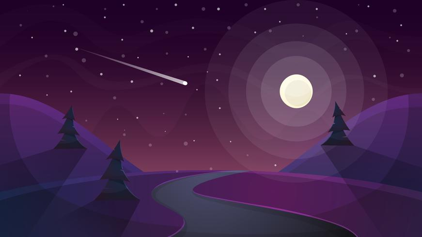 Viagem noite paisagem dos desenhos animados. Fir, cometa, estrela, lua, estrada doente vetor