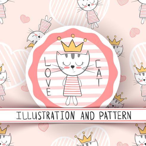 Gato bonito - padrão sem emenda de desenhos animados vetor