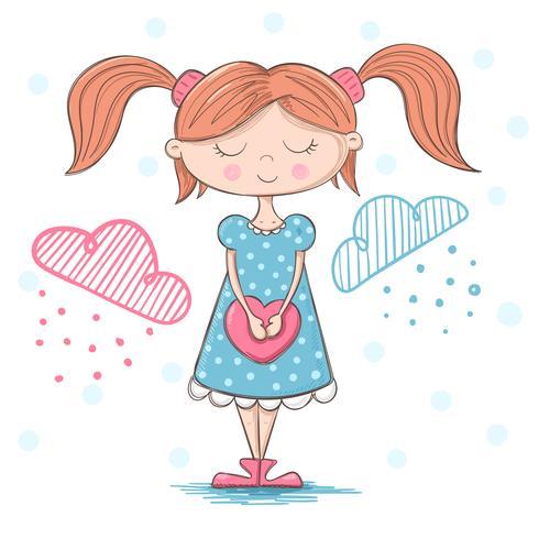 Linda garota bonita com grande coração vetor