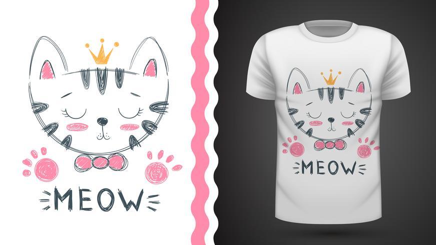 Gato bonito - ideia para o t-shirt da cópia. vetor