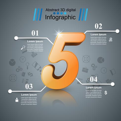 Ilustração digital 3D abstrata Infographic. Ícone de cinco. vetor